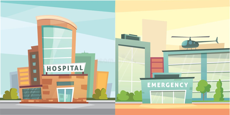 Ajuste a ilustração moderna do vetor dos desenhos animados da construção do hospital Fundo da clínica médica e da cidade Exterior ilustração royalty free
