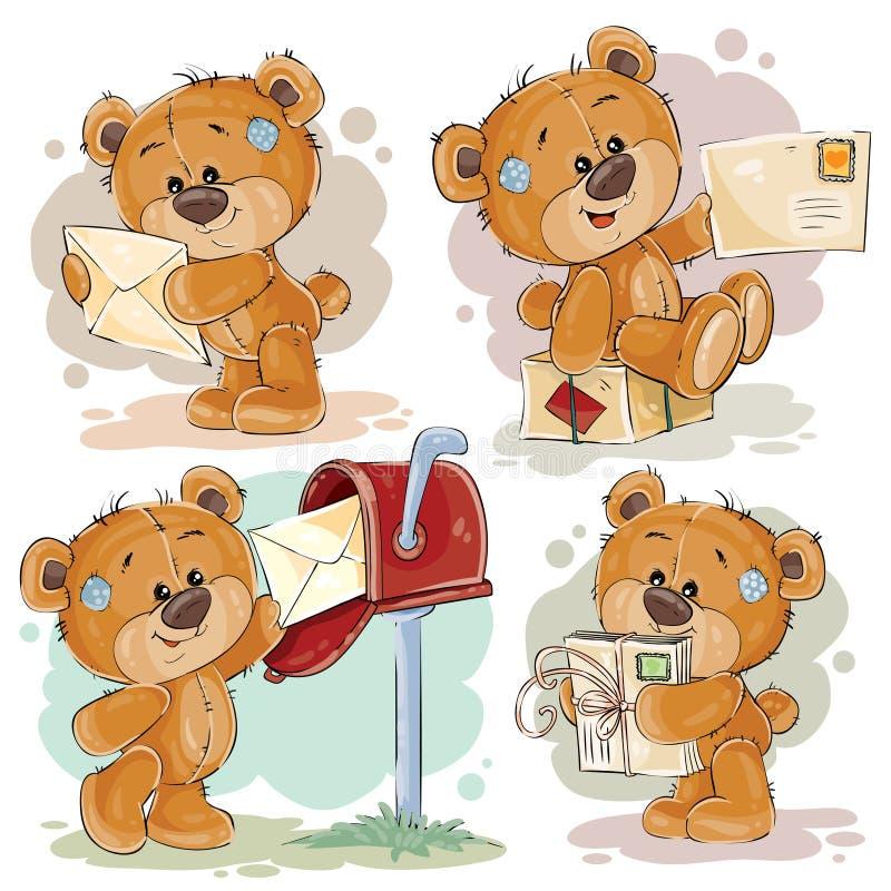 Ajuste ilustrações do clipart do urso de peluche recebe e envia carta ilustração royalty free