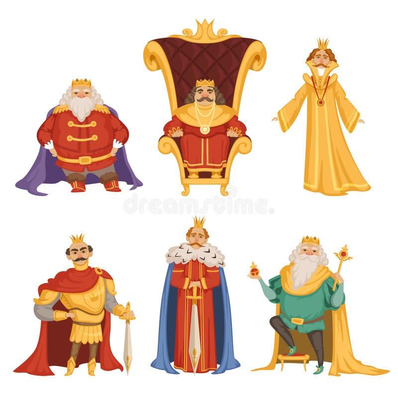 Ajuste ilustrações do rei no estilo dos desenhos animados ilustração do vetor