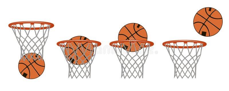 Ajuste imagens do basquetebol Fases de bater a bola na cesta ilustração royalty free
