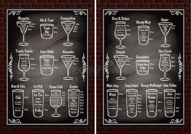 Ajuste ingredientes dos esquemas para fazer cocktail ilustração royalty free