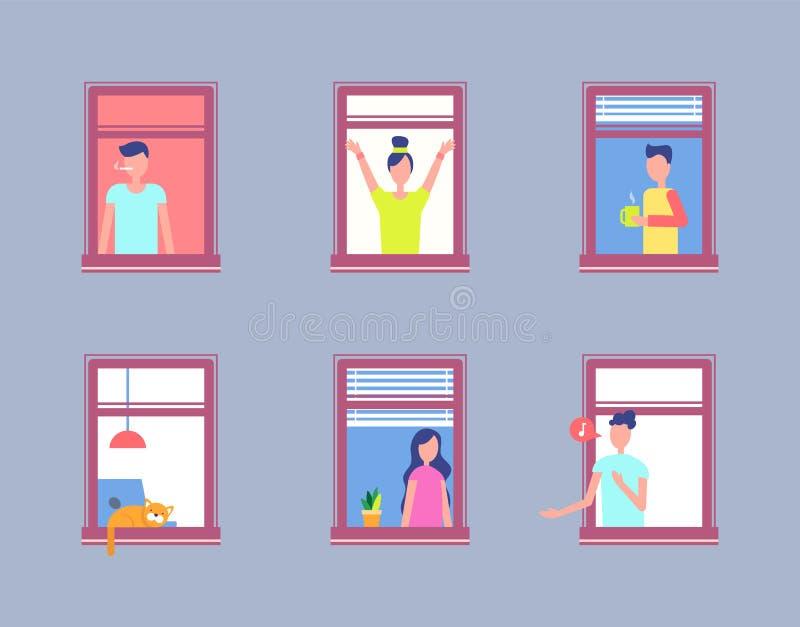 Ajuste a janela aberta dos povos Homens e vizinhos das mulheres ilustração stock