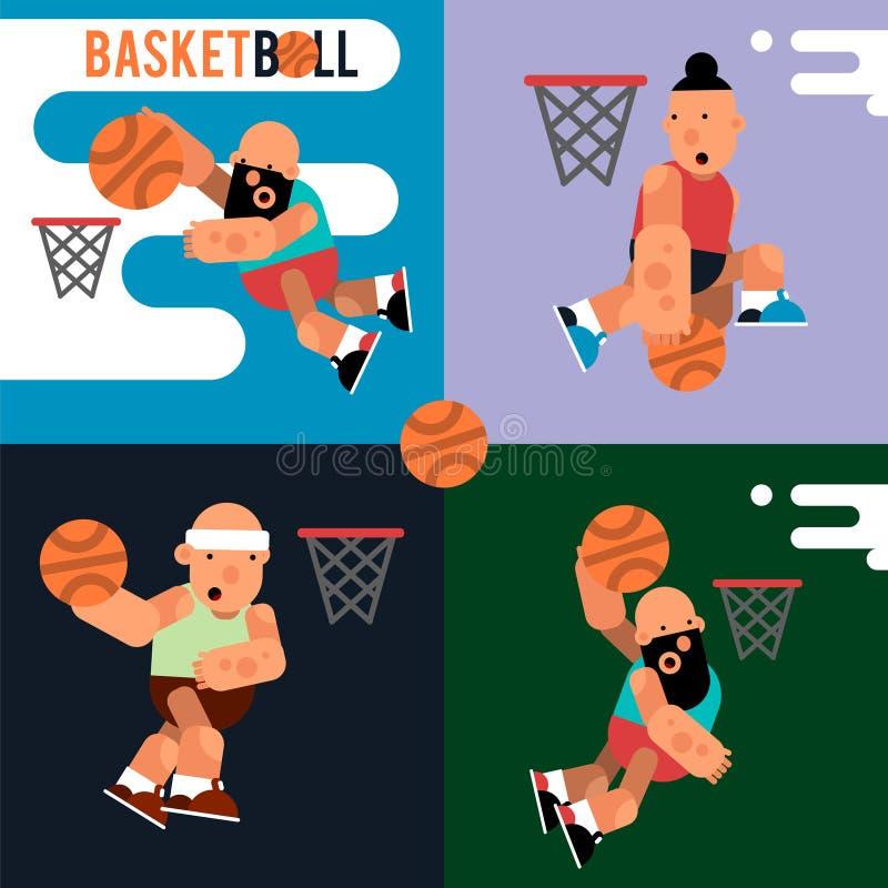 Ajuste jogadores de basquetebol dos desenhos animados para o projeto do movimento Illustr do vetor ilustração do vetor