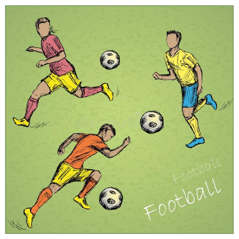 Ajuste jogadores de futebol ilustração do vetor