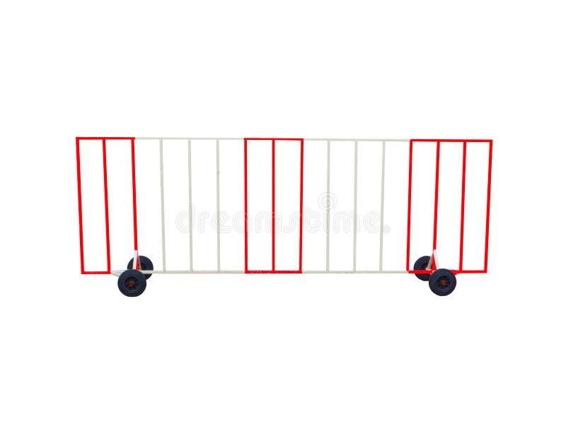 Ajuste las barreras movibles de acero formadas en color rojo y blanco con la rueda negra aislada en el fondo blanco stock de ilustración