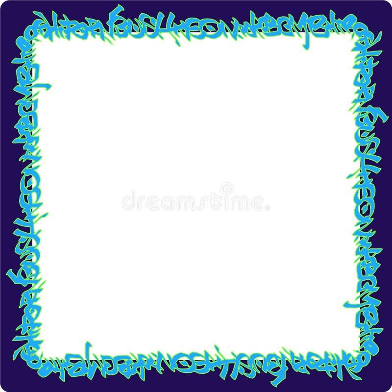 Ajuste las etiquetas de neón azules redondeadas de la pintada del marco en púrpura libre illustration