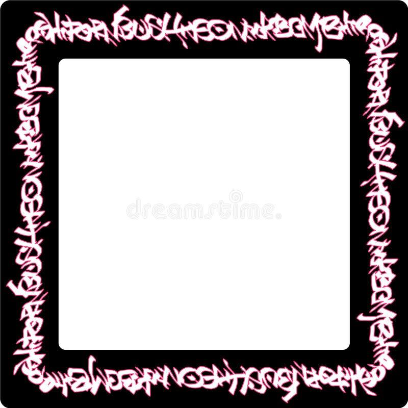 Ajuste las etiquetas de neón redondeadas de la pintada del rosa del marco en negro ilustración del vector