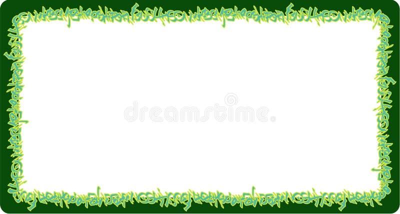Ajuste las etiquetas de neón redondeadas de la pintada del verde del marco en verde libre illustration
