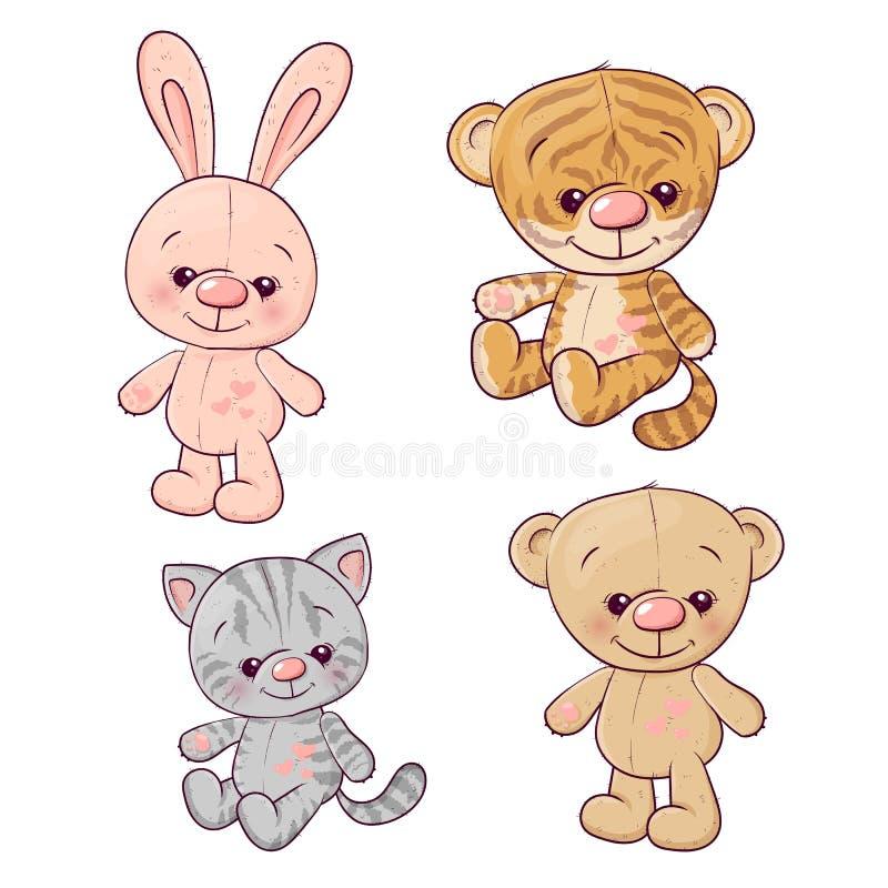 Ajuste a lebre do urso de peluche do gatinho do filhote de tigre Desenho da m?o ilustração stock