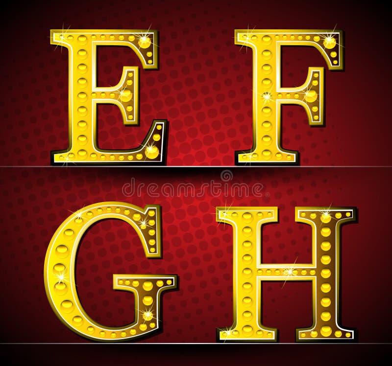 Ajuste letras com a lâmpada do diodo emissor de luz do ouro ilustração royalty free