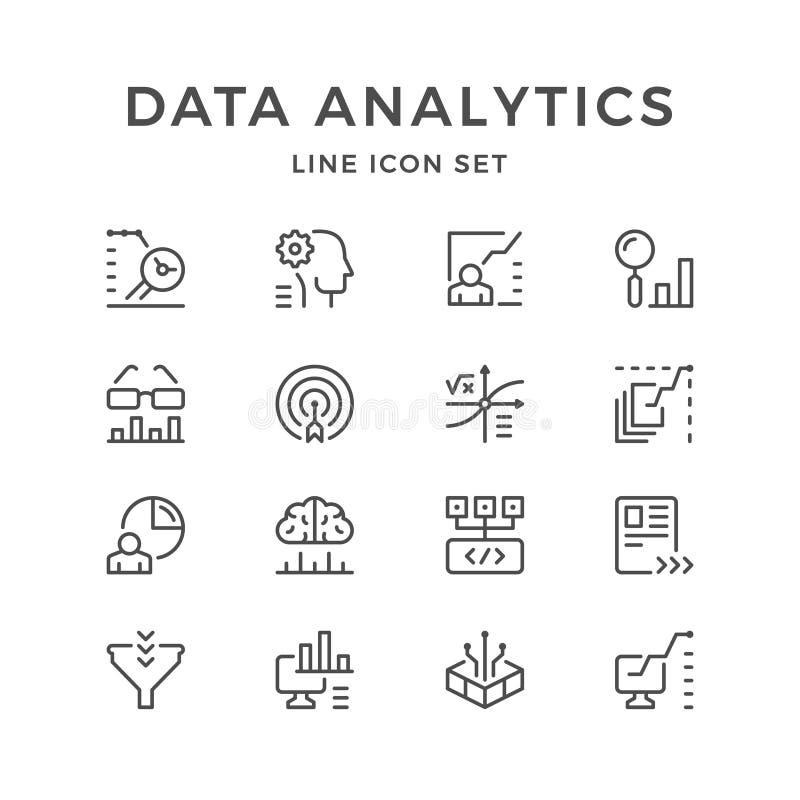 Ajuste a linha ícones de analítica dos dados ilustração stock