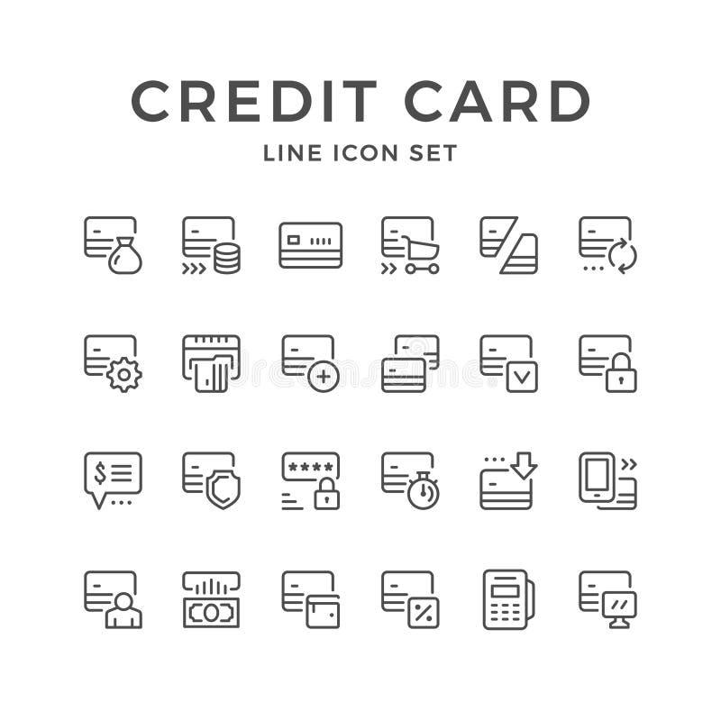 Ajuste a linha ícones de cartão de crédito ilustração royalty free
