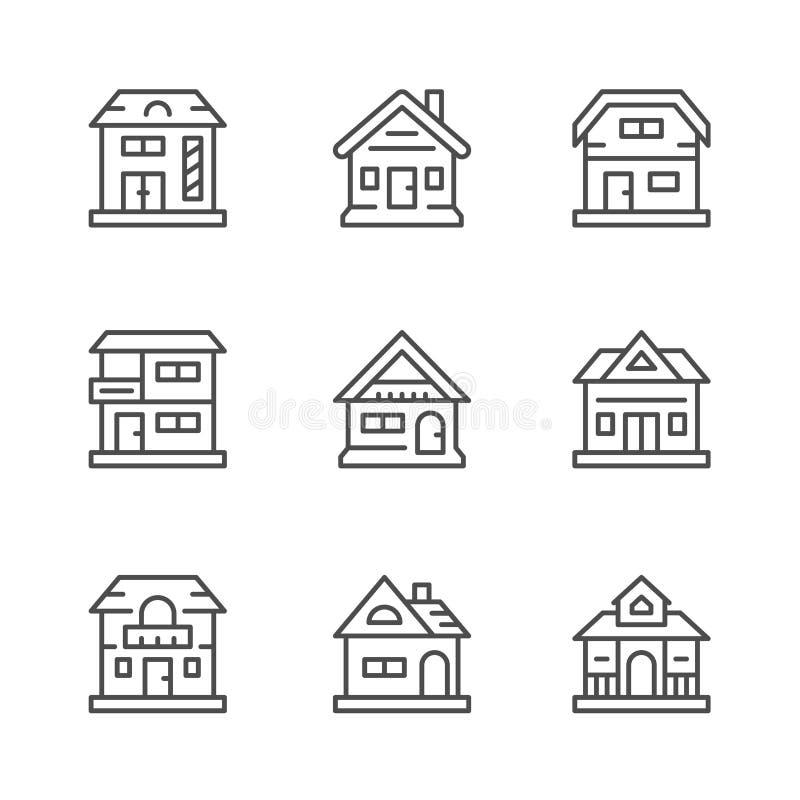 Ajuste a linha ícones de casas ilustração stock