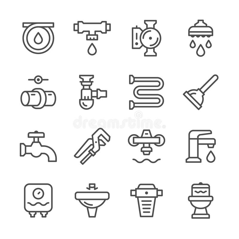 Ajuste a linha ícones de encanamento ilustração do vetor