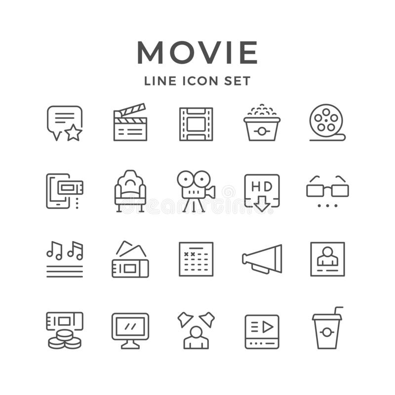 Ajuste a linha ícones de filme ilustração stock