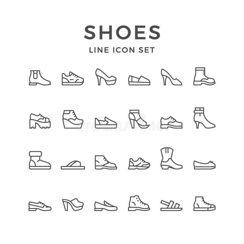 Ajuste a linha ícones de sapatas ilustração royalty free
