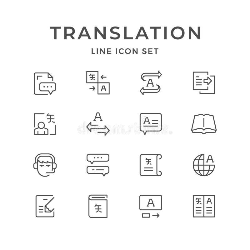 Ajuste a linha ícones de tradução ilustração stock
