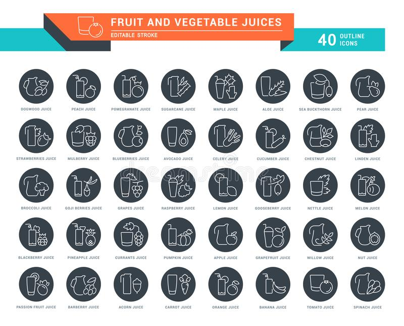 Ajuste a linha ícones do vetor de sucos de frutas e legumes ilustração stock