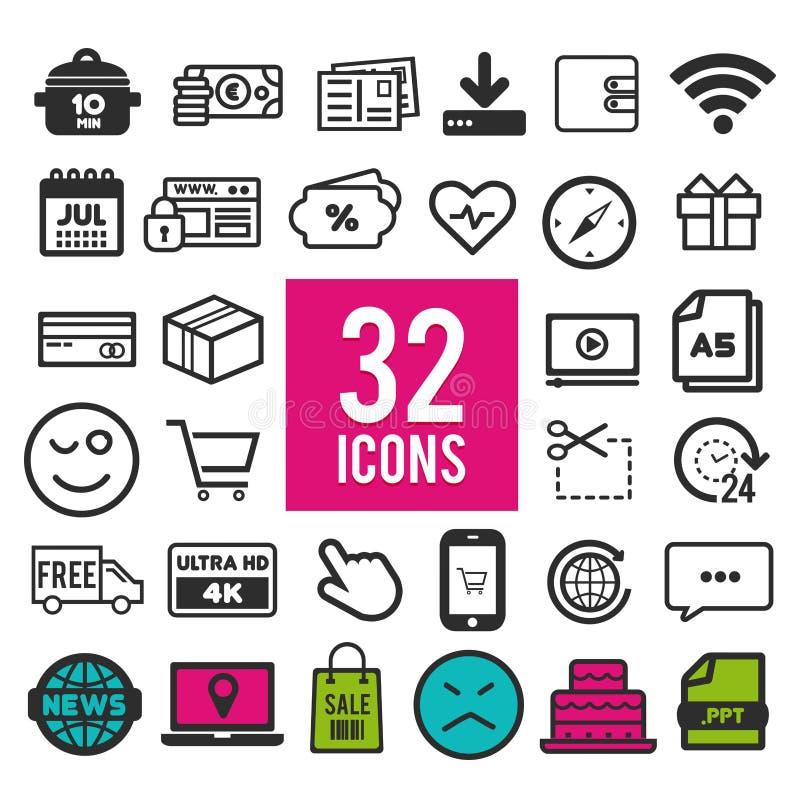Ajuste a linha ícones do vetor no projeto liso com elementos para conceitos e apps móveis da Web Logotipo infographic moderno da  ilustração stock