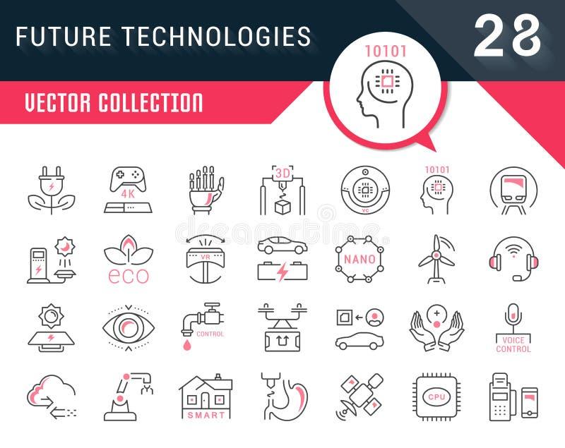 Ajuste a linha ícones lisos do vetor das tecnologias futuras ilustração stock