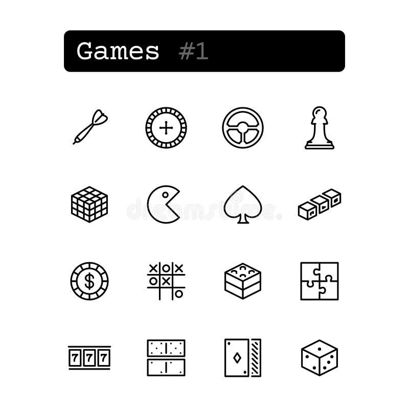 Ajuste a linha ícones Vetor Lazer, jogo ilustração royalty free