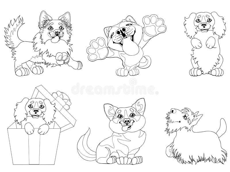 Ajuste a linha de contorno dos cães de cachorrinho ilustração stock