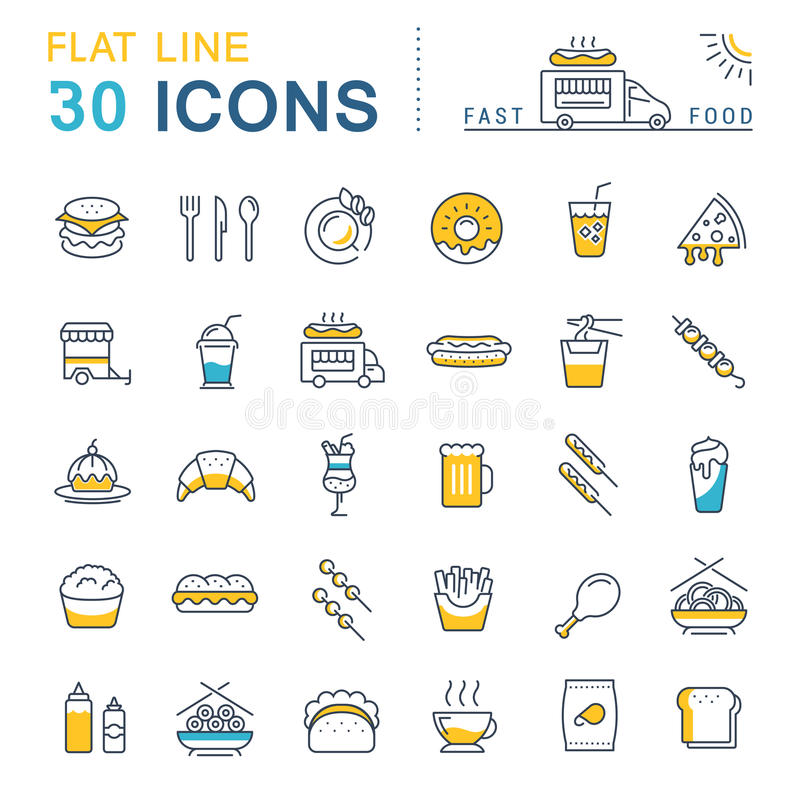 Ajuste a linha lisa ícones fast food e comida lixo do vetor ilustração do vetor