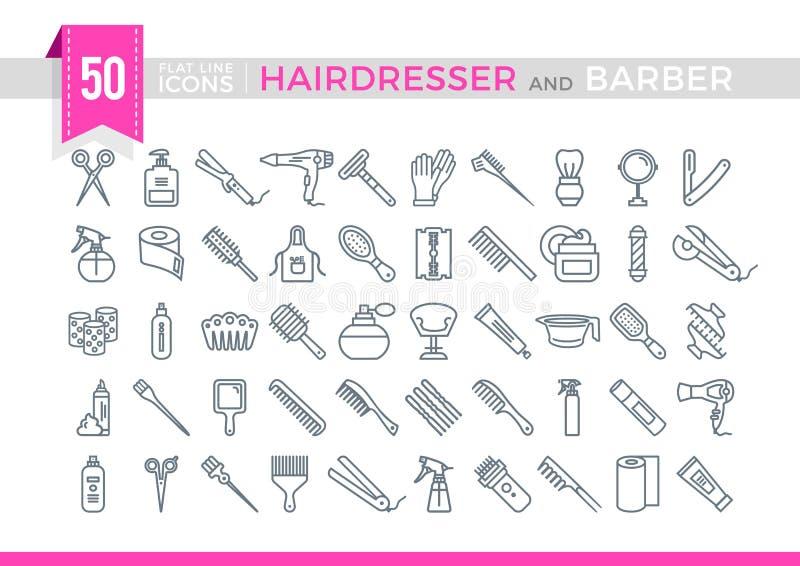 Ajuste a linha lisa ícones Hairdesser e barbeiro do vetor ilustração do vetor