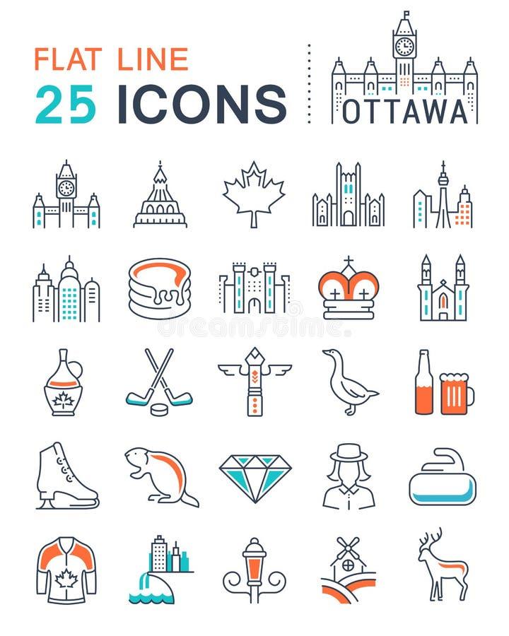 Ajuste a linha lisa ícones Ottawa do vetor ilustração stock