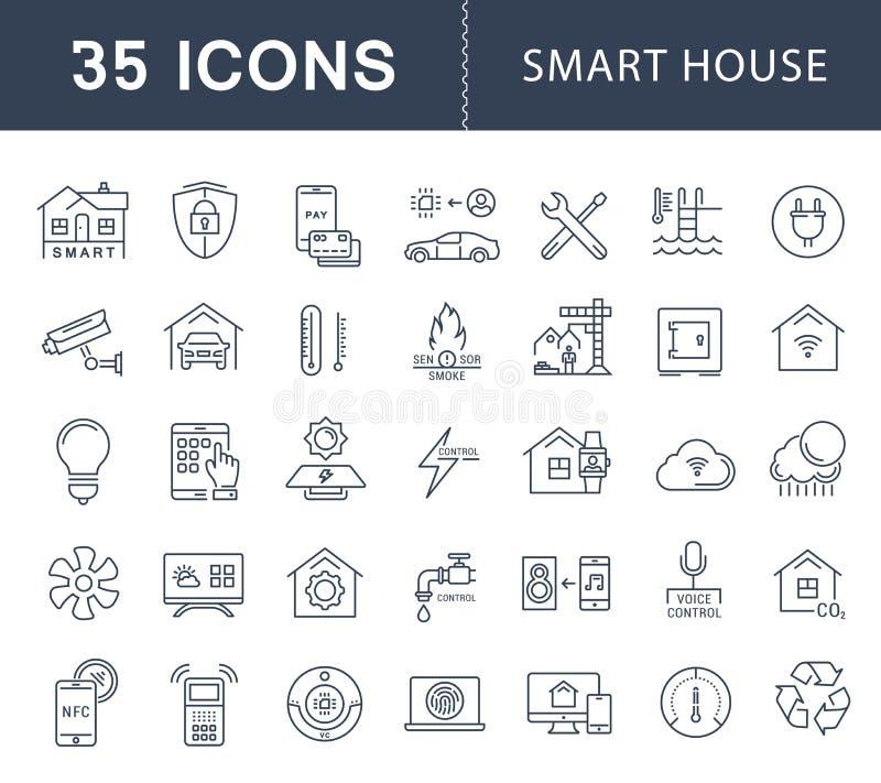 Ajuste a linha lisa casa do vetor de Smart dos ícones ilustração royalty free