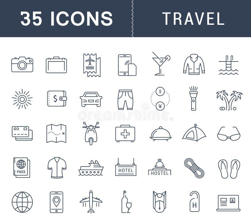 Ajuste a linha lisa curso do vetor dos ícones ilustração royalty free