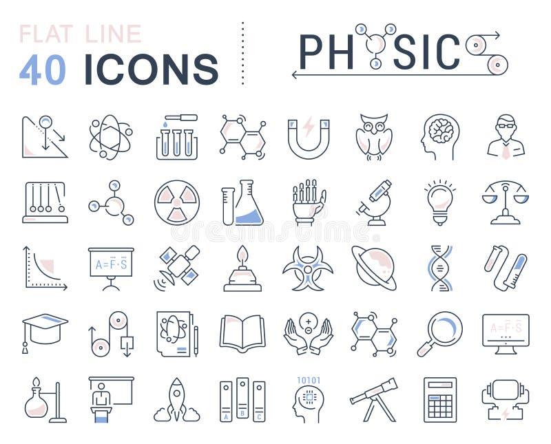 Ajuste a linha lisa Physic do vetor dos ícones ilustração stock