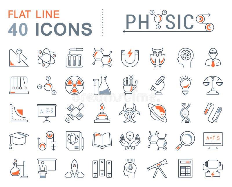 Ajuste a linha lisa Physic do vetor dos ícones ilustração royalty free