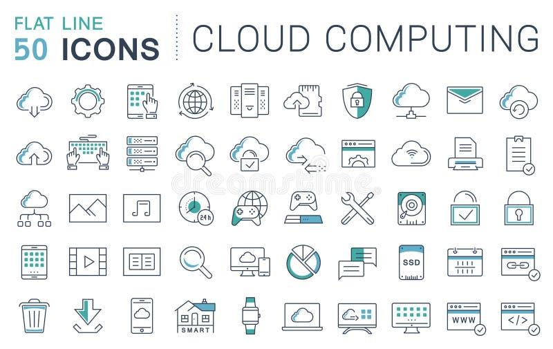 Ajuste a linha lisa serviço do vetor da nuvem dos ícones ilustração do vetor