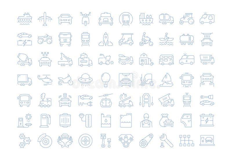 Ajuste a linha lisa transporte do vetor dos ícones ilustração royalty free