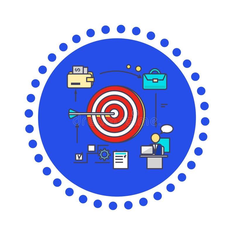 Ajuste liso do objetivo do projeto do estilo do ícone ilustração do vetor
