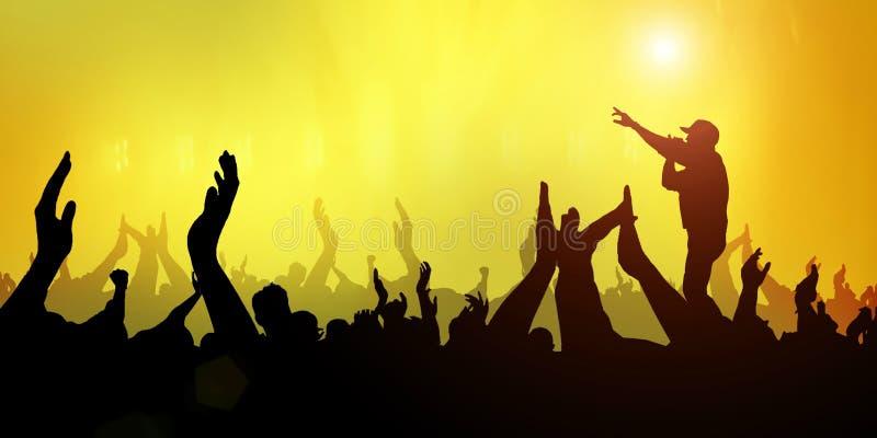 Ajuste a luz do sumário do festival da faixa da música do partido da multidão - amarele no fundo ilustração stock