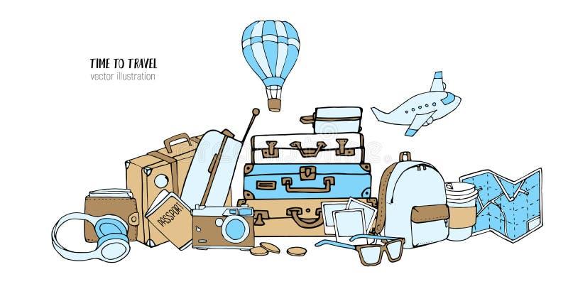 Ajuste mão bonito da garatuja tirada do curso Férias ou hora viajar conceito Elementos do turismo e dos desenhos animados do esbo ilustração stock