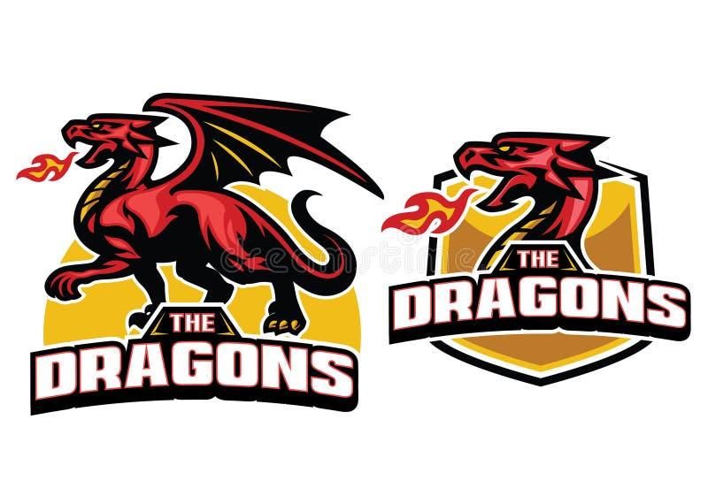 Ajuste a mascote do dragão com respiração do fogo ilustração stock