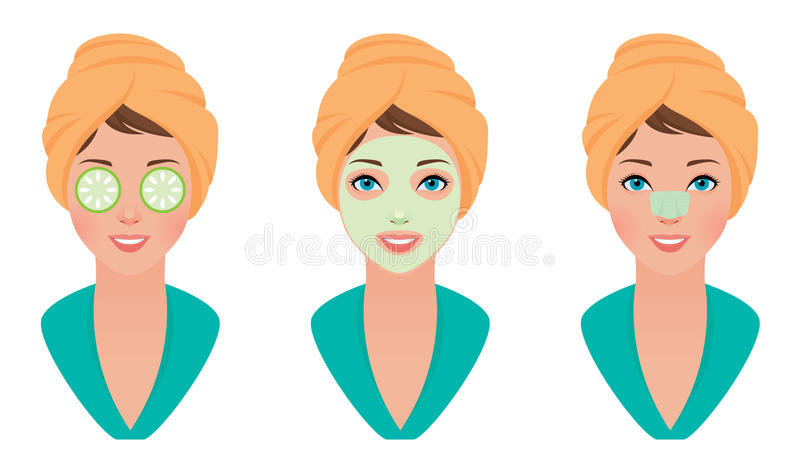 Ajuste a menina com máscara da argila em sua cara com uma máscara do pepino e limpe a tira dos poros ilustração royalty free