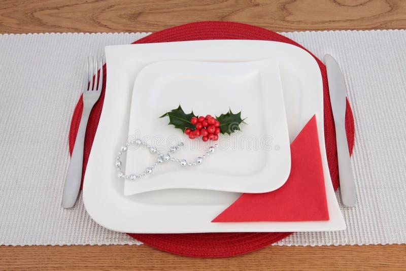 Ajuste moderno de la tabla de la Navidad fotografía de archivo