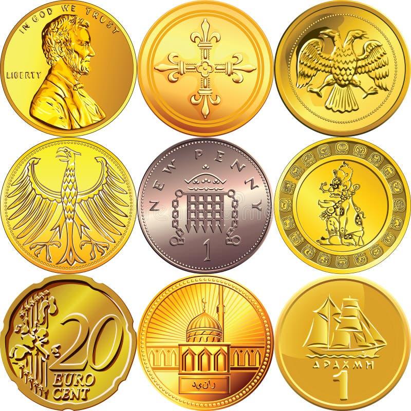 Ajuste moedas do dinheiro de países diferentes ilustração stock