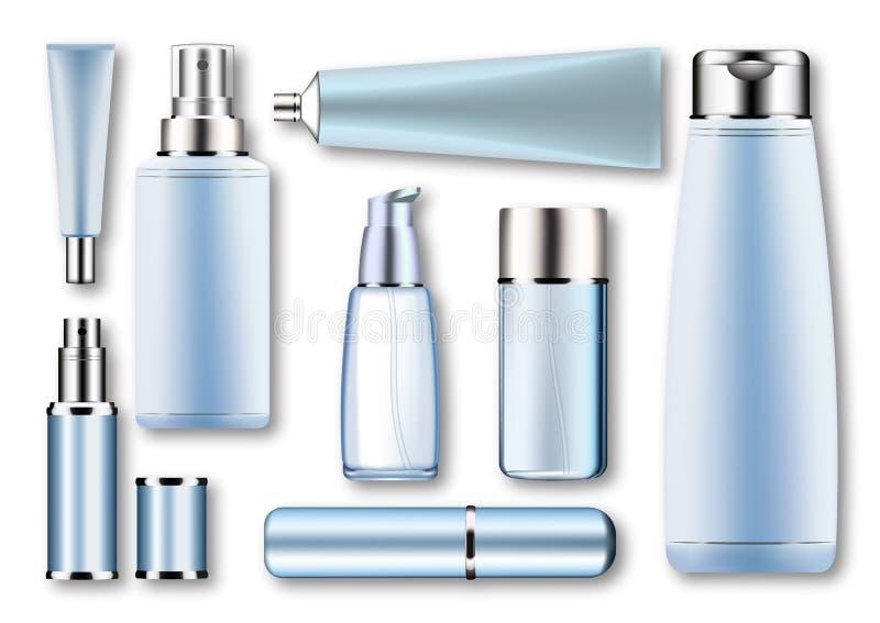 Ajuste moldes vazios do plástico de prata azul vazio, recipientes realísticos de vidro do vetor: garrafas com pulverizador, distr ilustração do vetor