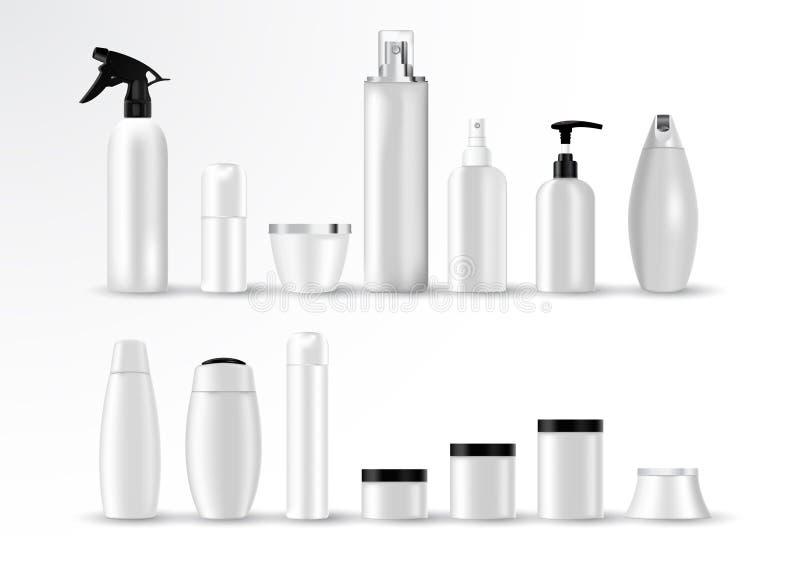 Ajuste moldes vazios do vetor de recipientes plásticos brancos vazios e limpos: garrafas com pulverizador, distribuidor e conta-g ilustração royalty free