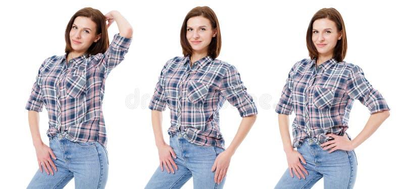 Ajuste a mulher na roupa ocasional isolada no fundo branco, colagem imagem de stock royalty free