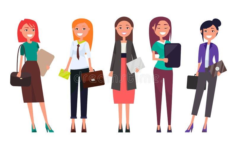Ajuste mulheres no vestuário formal com envelopes dos portáteis ilustração do vetor