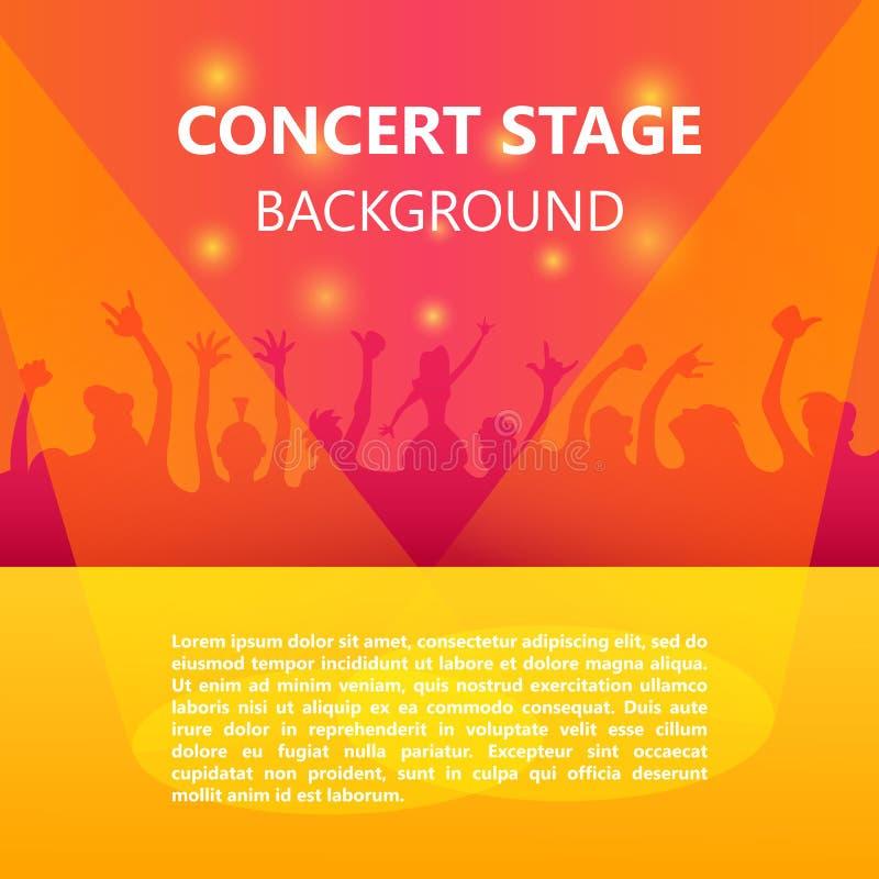 Ajuste a multidão, festival de música, pessoa de dança, cartaz do partido com fundo colorido ilustração royalty free