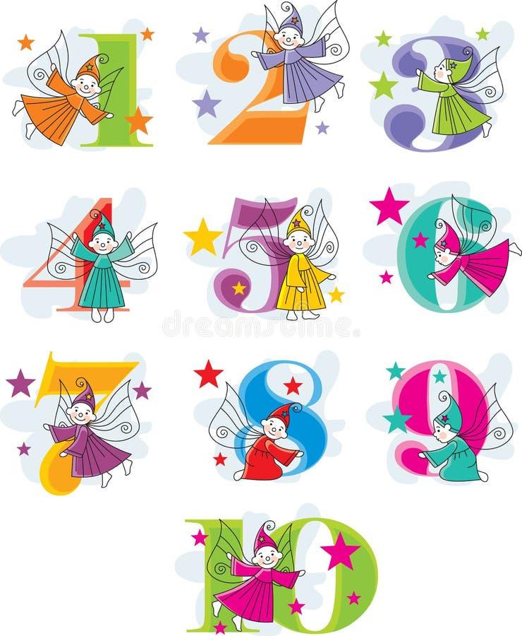 Ajuste números do vetor com duendes ilustração stock