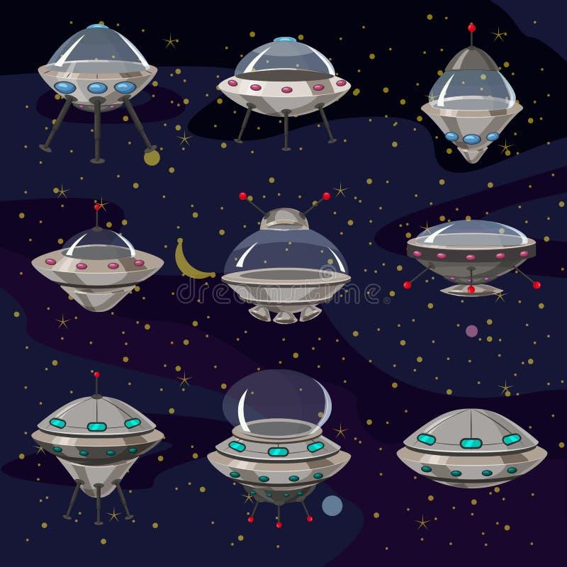 Ajuste nave espacial dos desenhos animados da ilustração do UFO dos pires, da nave espacial de voo e naves espaciais engraçadas,  ilustração do vetor