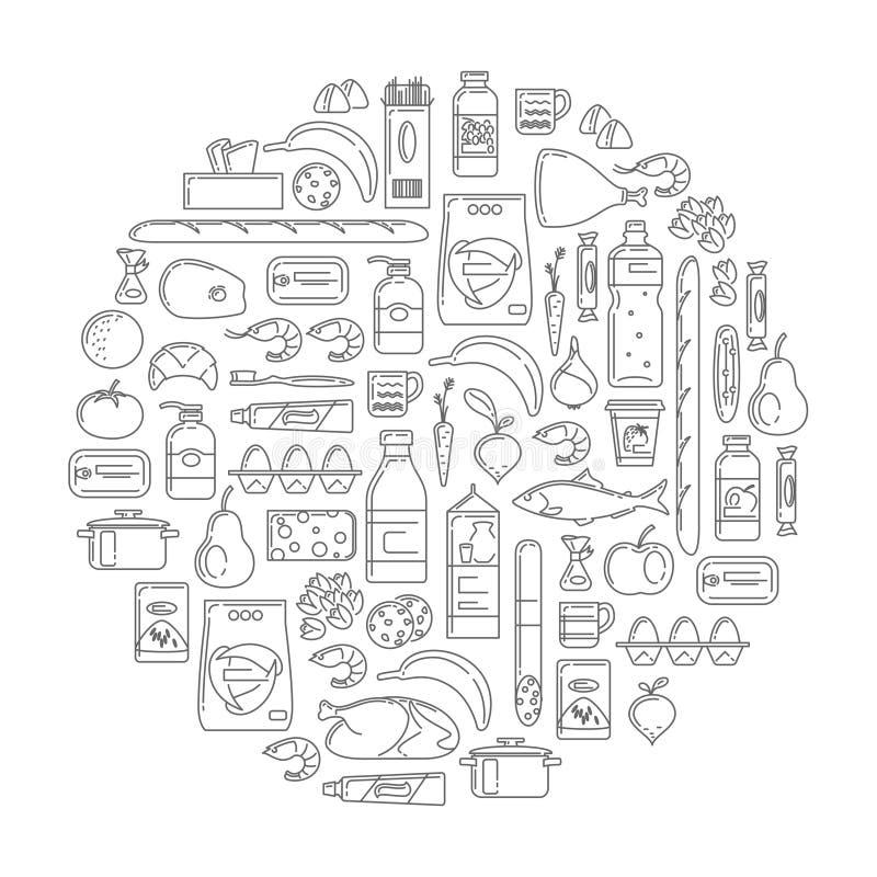 Ajuste no estilo simples linear de produtos do supermercado ilustração do vetor